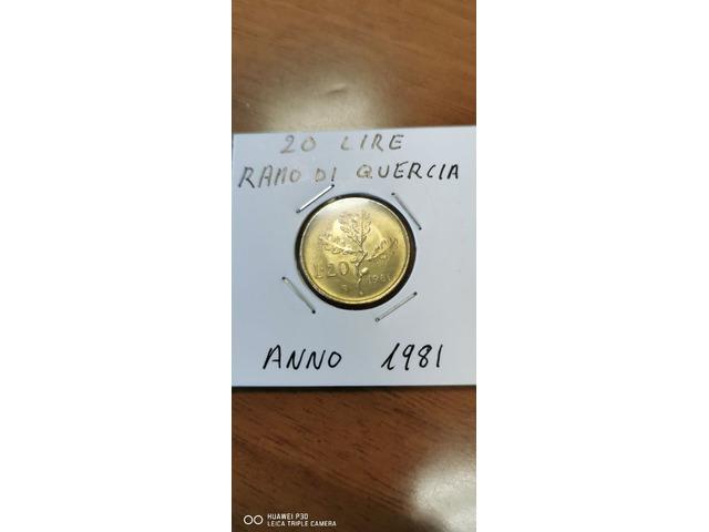 20 LIRE RAMO DI QUERCIA ANNO 1981