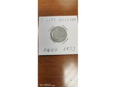 5 LIRE DELFINO ANNO 1953