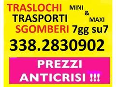 ROMA TRASLOCHI TRASPORTI E SGOMBERI A PREZZI INIMITABILI 7GG SU7