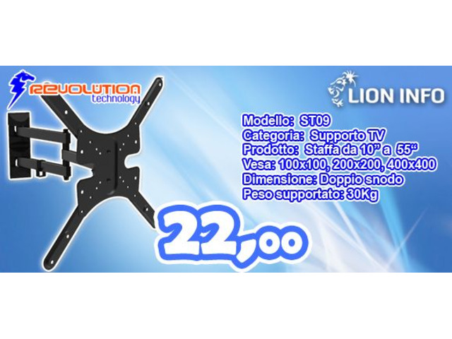 """Staffa per Televisore LED o LCD fino al 55"""" e peso 30Kg Revolution Technology"""