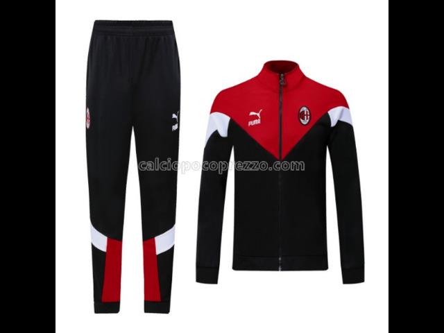 giacca divisa magliette ac milan rosso 2021 - 1