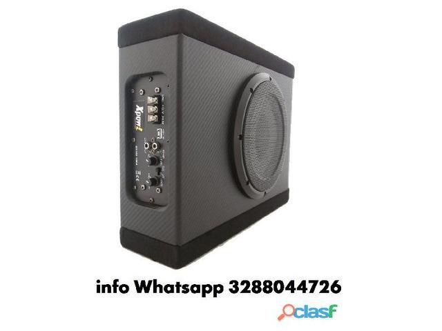 Subwoofer auto attivo amplificato flat 1100 watt cassa chius - 1