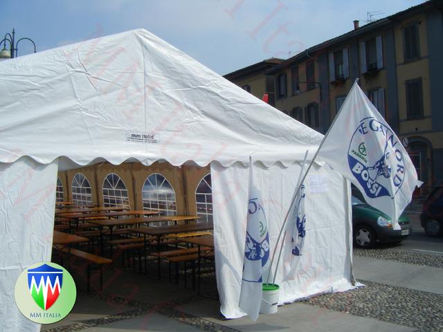 Tendoni Tendostrutture  Gazebo 7 x 15 x 3,3 professionali pvc 550 gr. mq. Ignifugo - 1