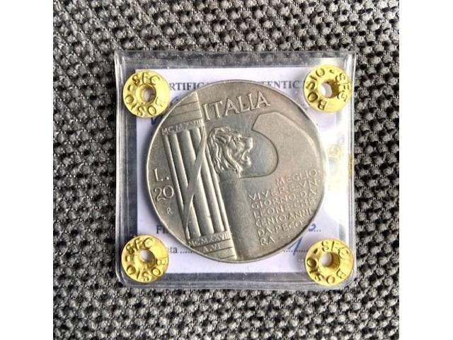 """20 lire """"elmetto"""" 1928 periziato."""
