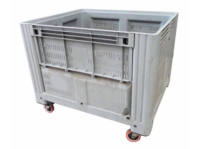 Cassoni bins in plastica con ruote e sportello - 1/10