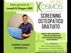 SCREENING OSTEOPATICO GRATUITO Lunedì 21 Giugno