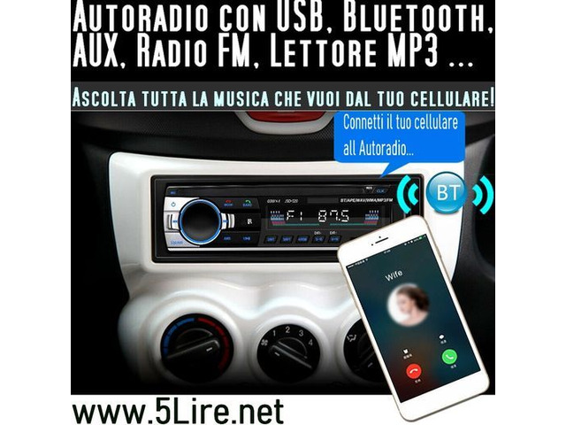 Autoradio con USB Bluetooth AUX Radio Lettore MP3