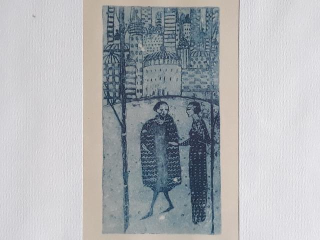"""Riproduzione litografica raffigurante """"2 persone che parlano"""" artista: Felice Casorati"""