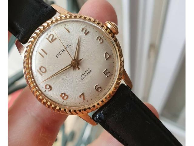 Eccezionale * vecchio orologio in un raro orologio francese vintage meccanico dorato - 4/5