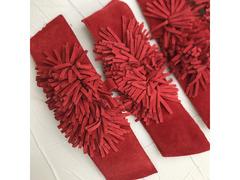 Tomaie pelle scamosciata rosso per zoccoli donna
