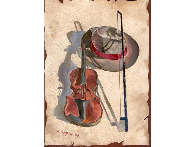 DIPINTO Violino con Cappello, con memoria USB. - 1/2