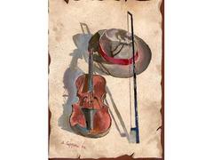 DIPINTO Violino con Cappello, con memoria USB.