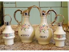 Set di Olio, Aceto, Sale e Pepe in ceramica con motivo floreale e finiture dorate