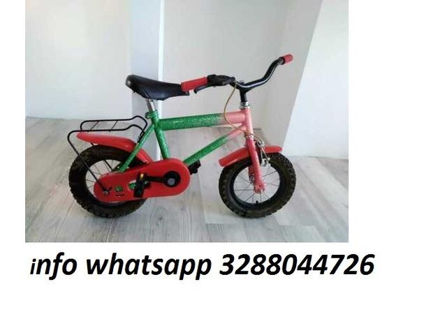 """Bici bicicletta 1 mtb bambino carter rosso 12"""" con rotelle - 1"""