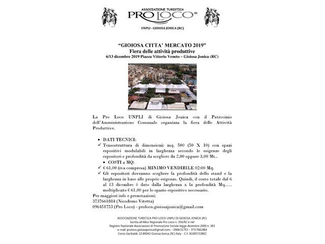 CERCASI ESPOSITORI PER FIERA ATTIVITA' PRODUTTIVE