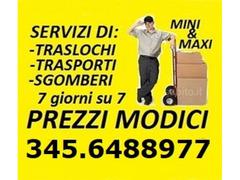 ROMA TRASLOCHI TRASPORTI E SGOMBERI ECONOMICI OVUNQUE 7 GIORNI SU 7