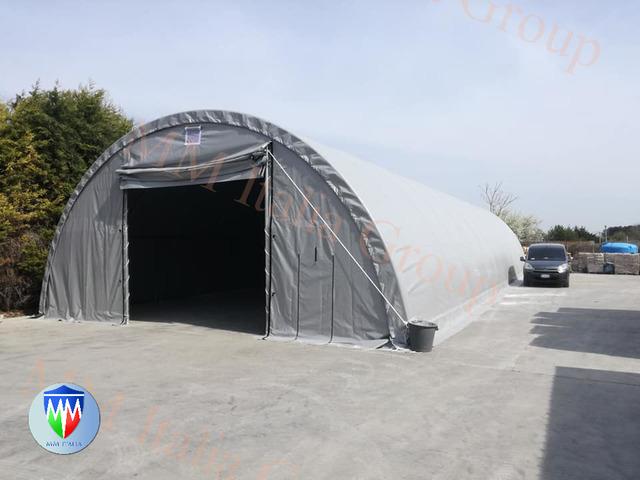 Tunnel Agricoli  9 x 20 x 4,5 mt. Tendoni Agritunnel Professionali telo in pvc 720gr. mq. Ignifugo - 3